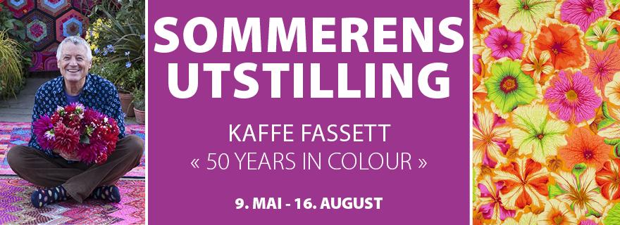 Hadeland Glassverks banner for utstillingen med Kaffe Fassetts arbeider i sommer.